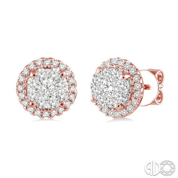 3/4 Ctw Lovebright Round Cut Diamond Earrings in 14K Rose and White Gold Grogan Jewelers Florence, AL