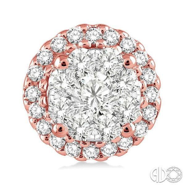 3/4 Ctw Lovebright Round Cut Diamond Earrings in 14K Rose and White Gold Image 2 Grogan Jewelers Florence, AL