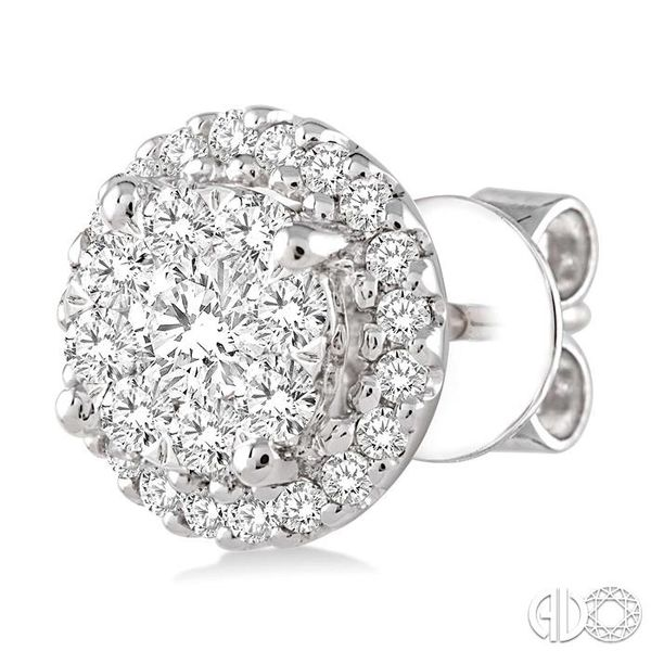 3/4 Ctw Lovebright Round Cut Diamond Earrings in 14K White Gold Image 3 Grogan Jewelers Florence, AL