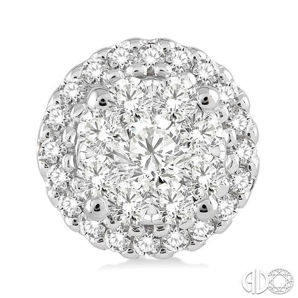 3/4 Ctw Lovebright Round Cut Diamond Earrings in 14K White Gold Image 2 Grogan Jewelers Florence, AL