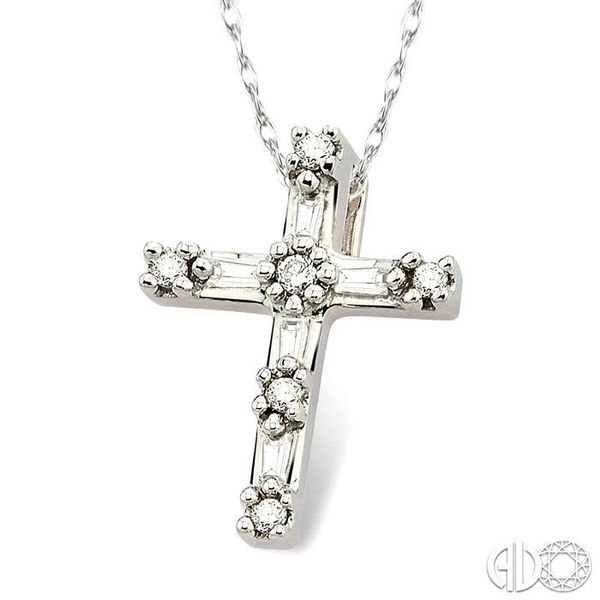 1/10 Ctw Diamond Cross Pendant in 14K White Gold with Chain Image 2 Grogan Jewelers Florence, AL