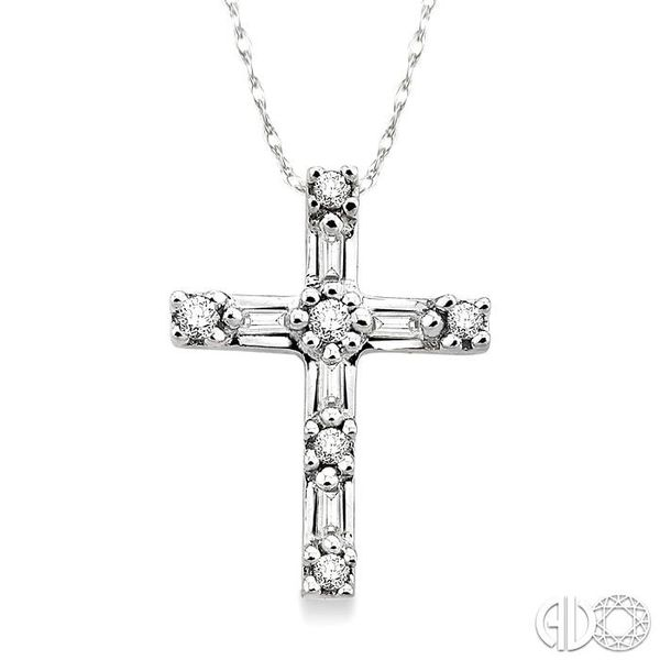 1/10 Ctw Diamond Cross Pendant in 14K White Gold with Chain Grogan Jewelers Florence, AL