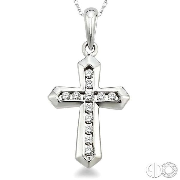 1/10 Ctw Round Cut Diamond Cross Pendant in 10K White Gold with Chain Image 3 Grogan Jewelers Florence, AL