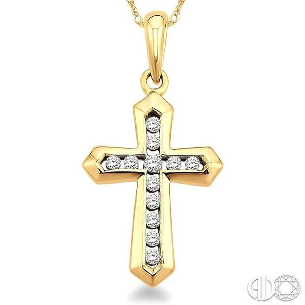 1/10 Ctw Round Cut Diamond Cross Pendant in 10K Yellow Gold with Chain Image 3 Grogan Jewelers Florence, AL