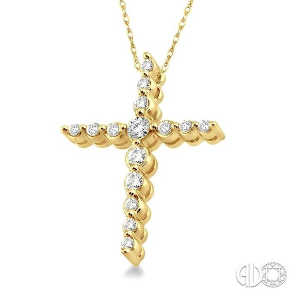 1/4 Ctw Round Cut Diamond Journey Cross Pendant in 14K Yellow Gold with Chain Image 2 Grogan Jewelers Florence, AL