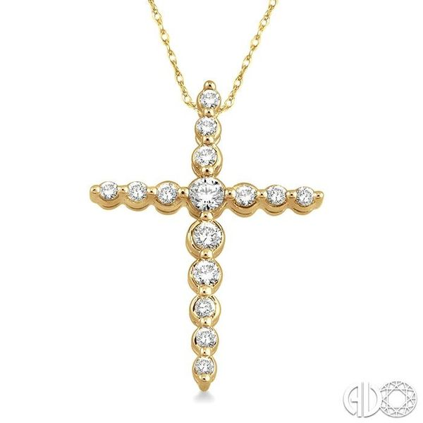 1/4 Ctw Round Cut Diamond Journey Cross Pendant in 14K Yellow Gold with Chain Grogan Jewelers Florence, AL