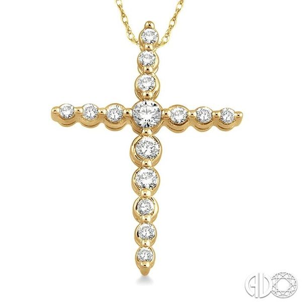 1/4 Ctw Round Cut Diamond Journey Cross Pendant in 14K Yellow Gold with Chain Image 3 Grogan Jewelers Florence, AL