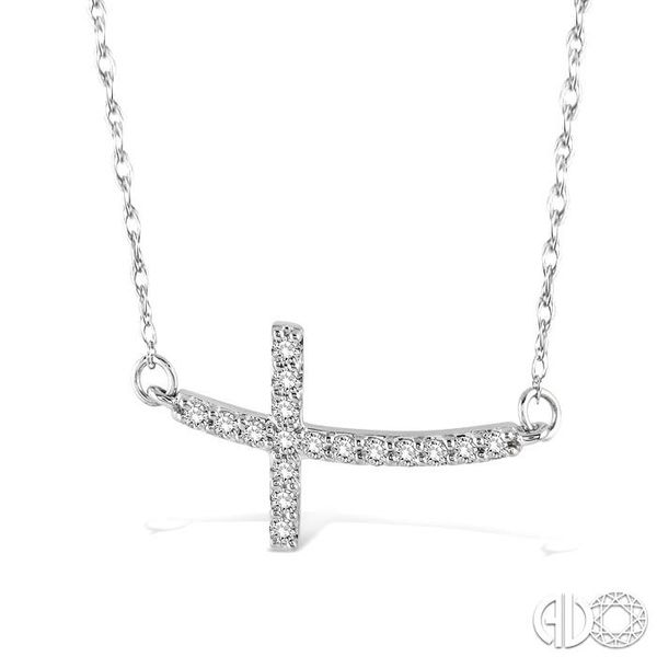 1/5 Ctw Round Cut Diamond Cross Pendant in 10K White Gold with Chain Image 2 Grogan Jewelers Florence, AL