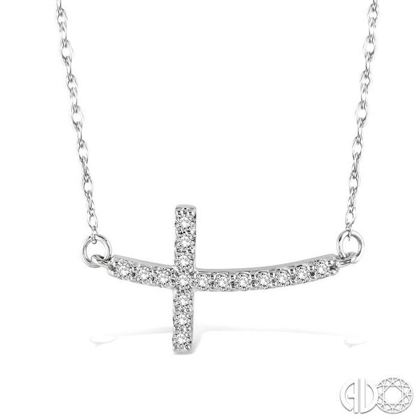 1/5 Ctw Round Cut Diamond Cross Pendant in 10K White Gold with Chain Grogan Jewelers Florence, AL