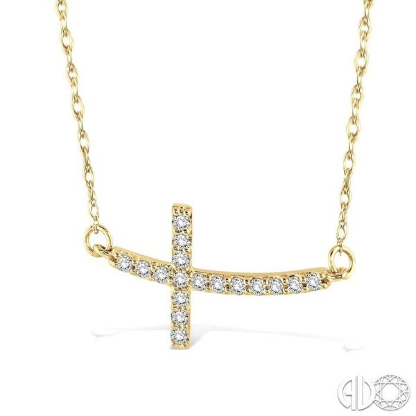 1/5 Ctw Round Cut Diamond Cross Pendant in 10K Yellow Gold with Chain Image 2 Grogan Jewelers Florence, AL