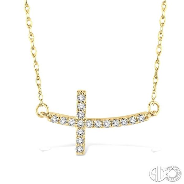 1/5 Ctw Round Cut Diamond Cross Pendant in 10K Yellow Gold with Chain Grogan Jewelers Florence, AL
