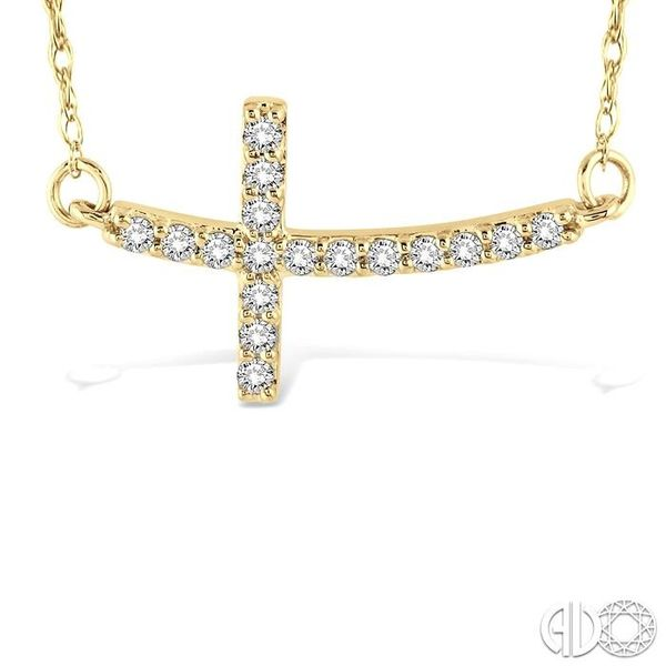 1/5 Ctw Round Cut Diamond Cross Pendant in 10K Yellow Gold with Chain Image 3 Grogan Jewelers Florence, AL