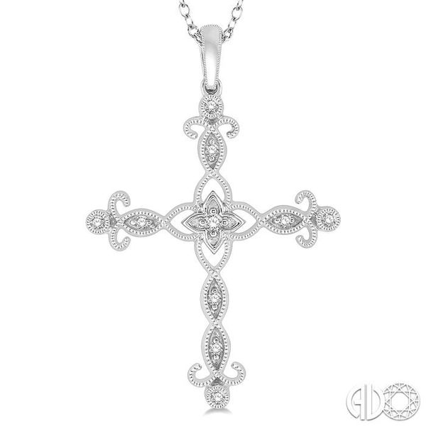 1/10 Ctw Marquise & Floral Cutwork Cross Round Cut Diamond Pendant With Link Chain in 10K White Gold Image 3 Grogan Jewelers Florence, AL