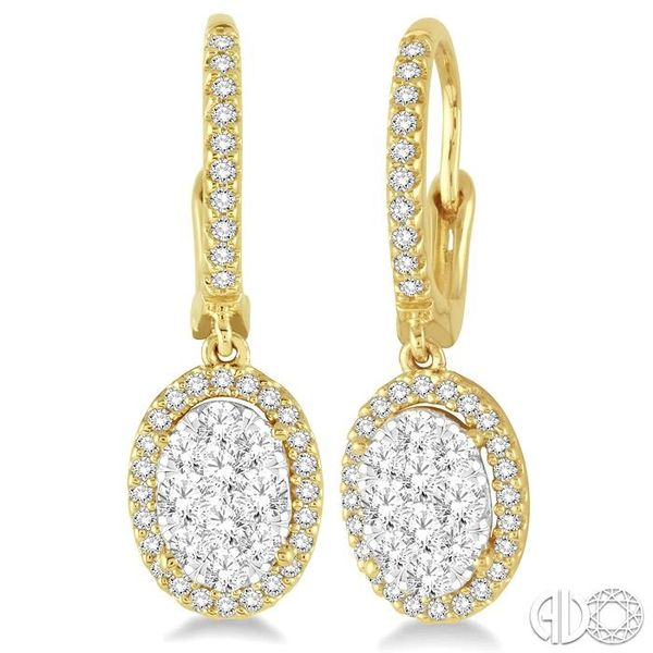 2 Ctw Oval Shape Diamond Lovebright Earrings in 14K Yellow Gold Grogan Jewelers Florence, AL