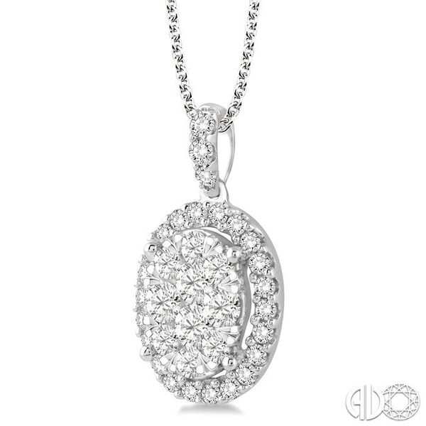 1 1/2 Ctw Oval Shape Diamond Lovebright Pendant in 14K White Gold with Chain Image 2 Grogan Jewelers Florence, AL