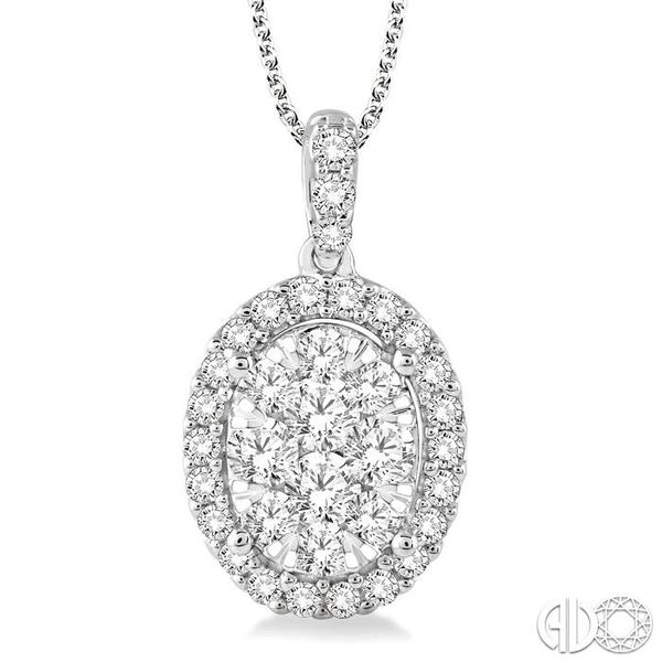 1 1/2 Ctw Oval Shape Diamond Lovebright Pendant in 14K White Gold with Chain Grogan Jewelers Florence, AL