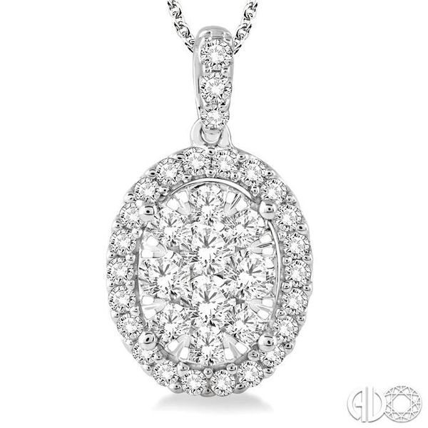 1 1/2 Ctw Oval Shape Diamond Lovebright Pendant in 14K White Gold with Chain Image 3 Grogan Jewelers Florence, AL