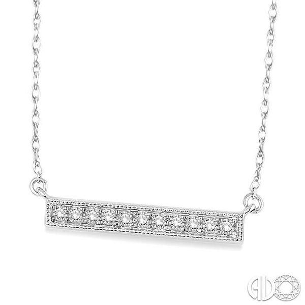 1/5 Ctw Round Cut Diamond Stick Pendant in 10K White Gold with Chain Image 2 Grogan Jewelers Florence, AL