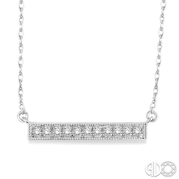 1/5 Ctw Round Cut Diamond Stick Pendant in 10K White Gold with Chain Grogan Jewelers Florence, AL