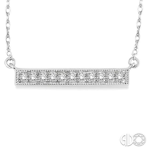 1/5 Ctw Round Cut Diamond Stick Pendant in 10K White Gold with Chain Image 3 Grogan Jewelers Florence, AL
