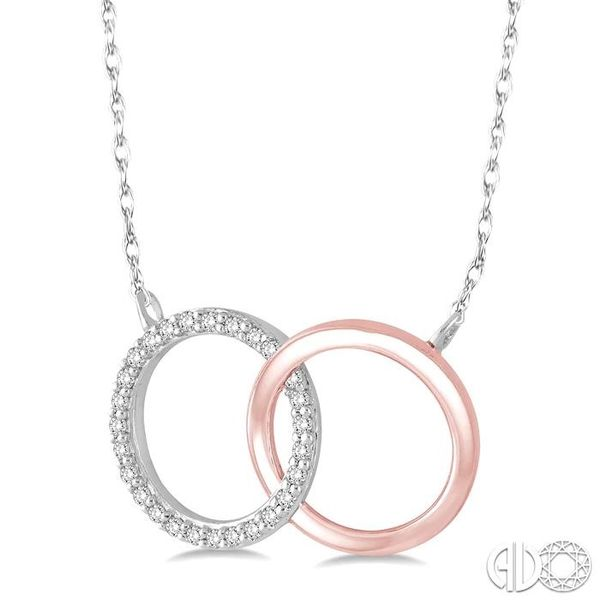 1/6 Ctw Round Cut Diamond Circle n Circle Pendant in 10K White and Rose Gold with Chain Image 2 Grogan Jewelers Florence, AL