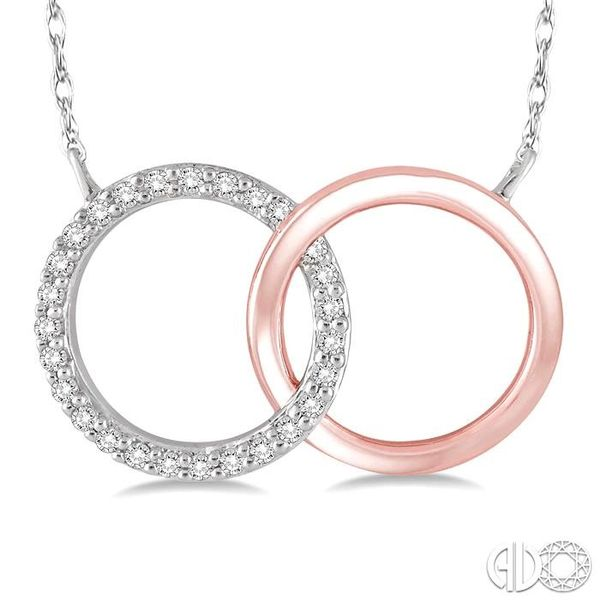 1/6 Ctw Round Cut Diamond Circle n Circle Pendant in 10K White and Rose Gold with Chain Image 3 Grogan Jewelers Florence, AL