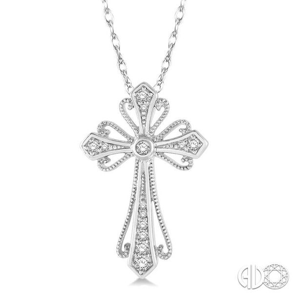 1/6 Ctw Vintage Cross Charm Round Cut Diamond Pendant With Link Chain in 10K White Gold Grogan Jewelers Florence, AL