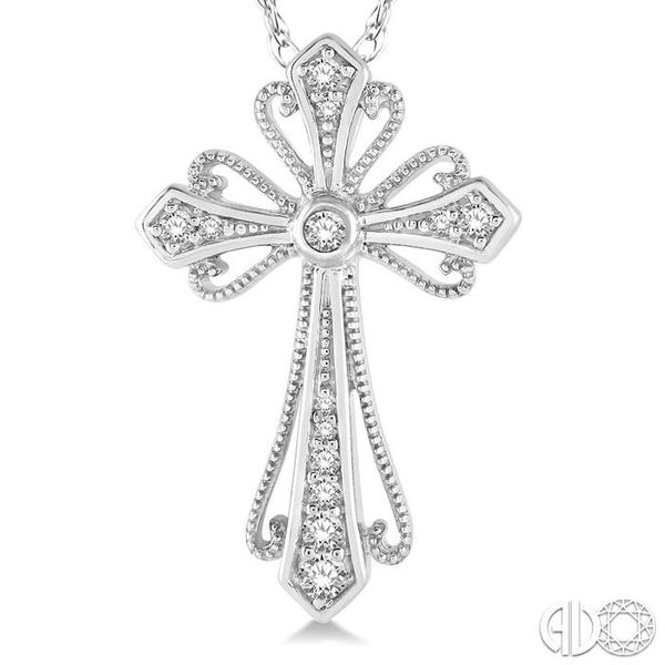 1/6 Ctw Vintage Cross Charm Round Cut Diamond Pendant With Link Chain in 10K White Gold Image 3 Grogan Jewelers Florence, AL