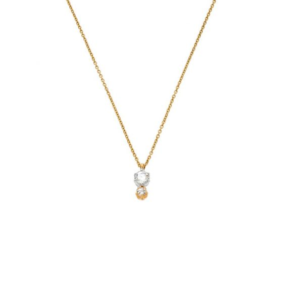 The Duet Necklace with White Diamonds in Yellow Gold Grogan Jewelers Florence, AL