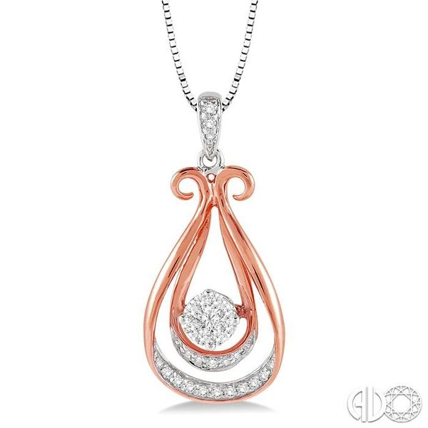1/5 Ctw Lovebright Round Cut Diamond Pendant in 14K White and Rose Gold with Chain Grogan Jewelers Florence, AL