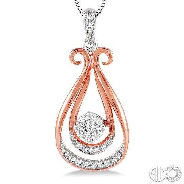 1/5 Ctw Lovebright Round Cut Diamond Pendant in 14K White and Rose Gold with Chain Image 3 Grogan Jewelers Florence, AL