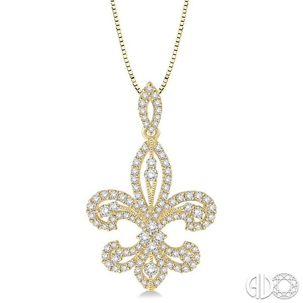 1 Ctw Round Cut Diamond Fleur De Lis Diamond Pendant in 14K Yellow Gold with Chain Grogan Jewelers Florence, AL