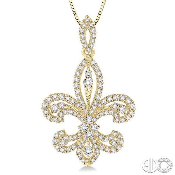 1 Ctw Round Cut Diamond Fleur De Lis Diamond Pendant in 14K Yellow Gold with Chain Image 3 Grogan Jewelers Florence, AL