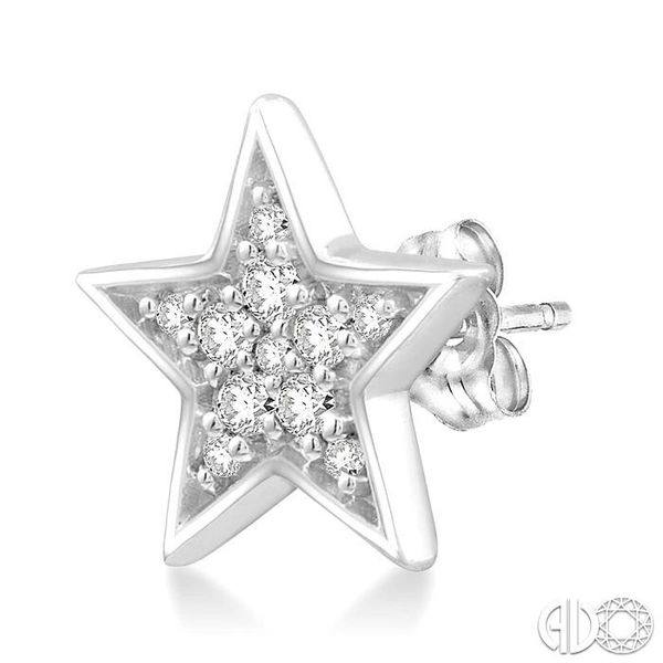 1/10 Ctw Star Cutout Round Cut Diamond Stud Earrings in 10K White Gold Image 3 Grogan Jewelers Florence, AL