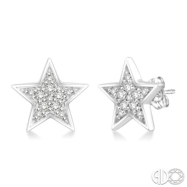 1/10 Ctw Star Cutout Round Cut Diamond Stud Earrings in 10K White Gold Grogan Jewelers Florence, AL