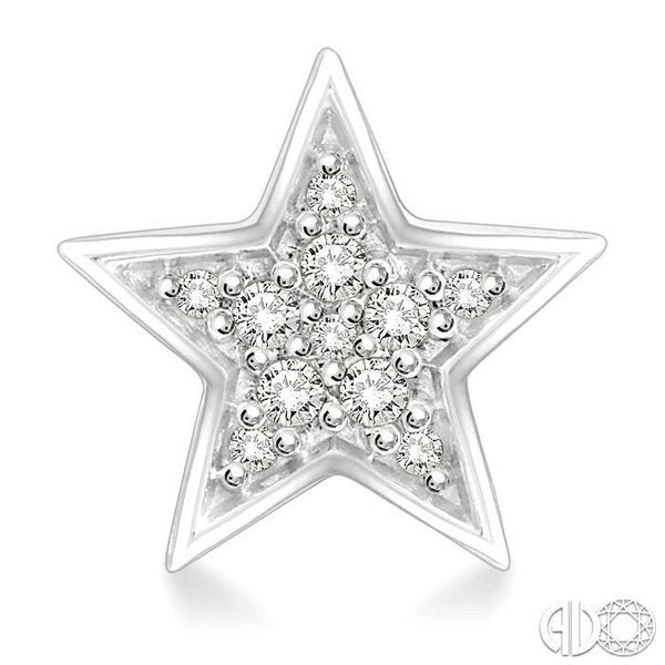 1/10 Ctw Star Cutout Round Cut Diamond Stud Earrings in 10K White Gold Image 2 Grogan Jewelers Florence, AL