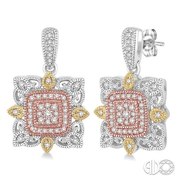 1/3 Ctw Square Shape Round Cut Diamond Earrings in 14K Tri Color Gold Grogan Jewelers Florence, AL