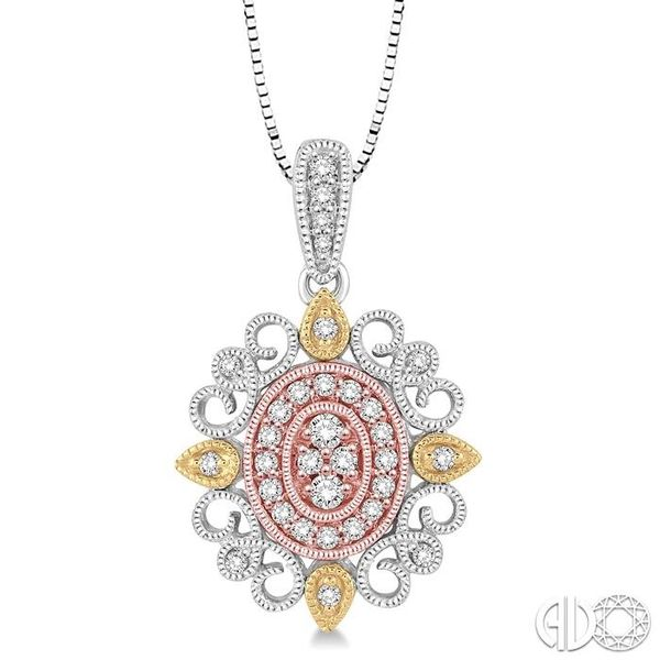 1/4 Ctw Oval Shape Round Cut Diamond Pendant in 14K Tri Color Gold with Chain Grogan Jewelers Florence, AL