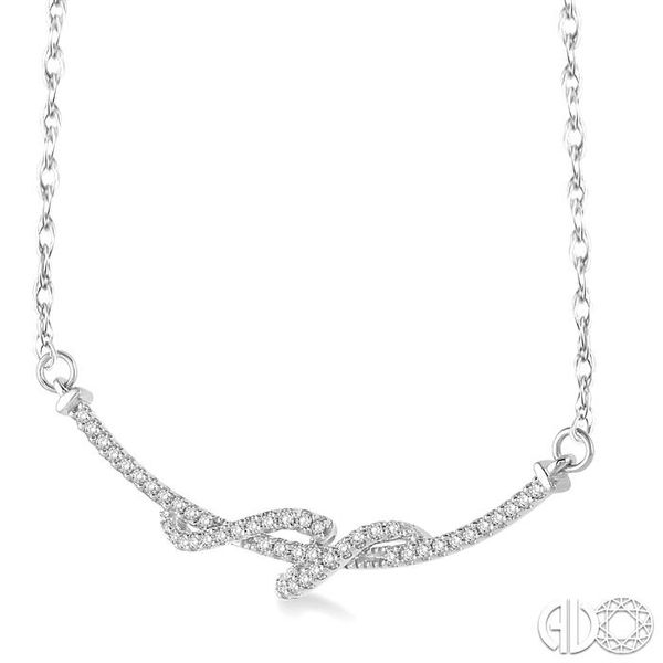 1/4 Ctw Round Cut Diamond Swirl Pendant in 10K White Gold with Chain Image 2 Grogan Jewelers Florence, AL