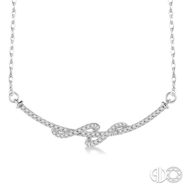 1/4 Ctw Round Cut Diamond Swirl Pendant in 10K White Gold with Chain Grogan Jewelers Florence, AL