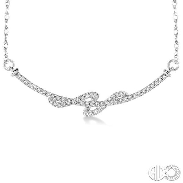 1/4 Ctw Round Cut Diamond Swirl Pendant in 10K White Gold with Chain Image 3 Grogan Jewelers Florence, AL