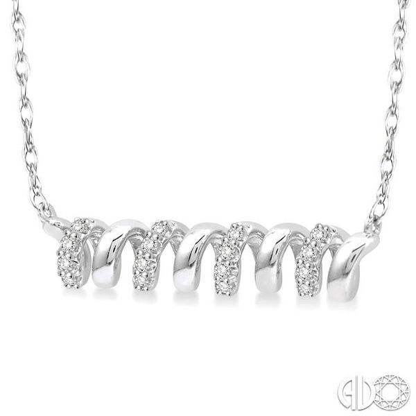 1/10 Ctw Spiral Round Cut Diamond Pendant With Link Chain in 10K White Gold Image 2 Grogan Jewelers Florence, AL