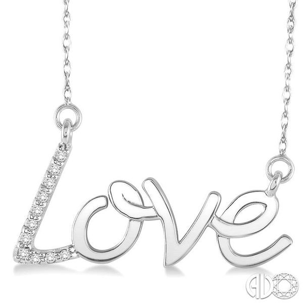 1/20 Ctw Single Cut Diamond Love Pendant in 14K White Gold with Chain Grogan Jewelers Florence, AL