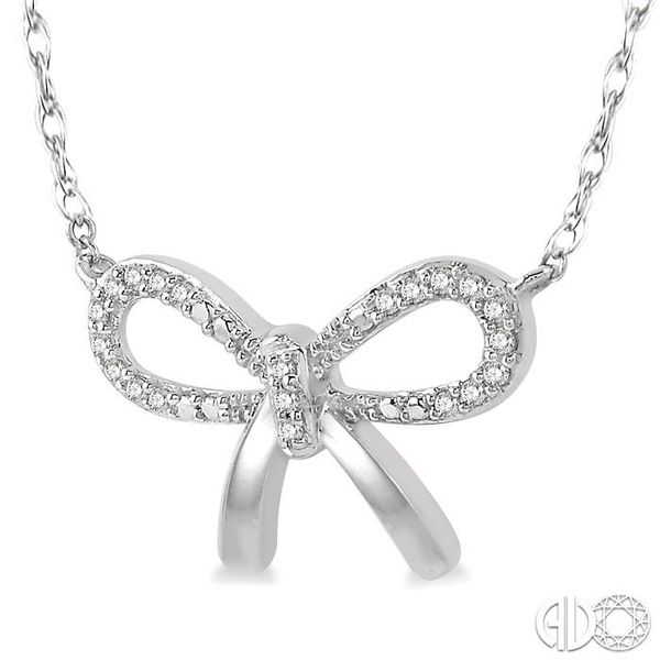1/20 Ctw Bow Tie Round Cut Diamond Necklace in 10K White Gold Image 2 Grogan Jewelers Florence, AL