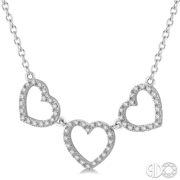 1/6 Ctw Triple Heart Round Cut Diamond Necklace in 10K White Gold Image 2 Grogan Jewelers Florence, AL