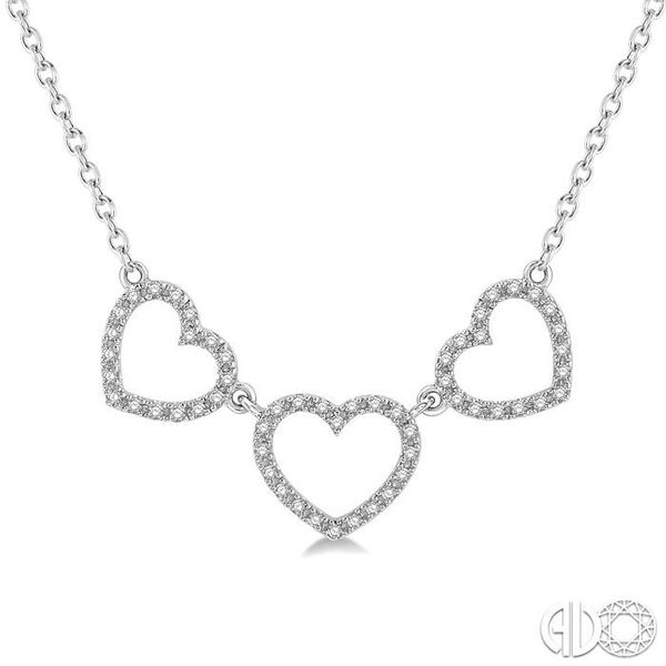 1/6 Ctw Triple Heart Round Cut Diamond Necklace in 10K White Gold Grogan Jewelers Florence, AL