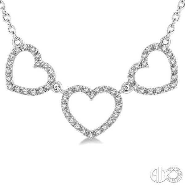 1/6 Ctw Triple Heart Round Cut Diamond Necklace in 10K White Gold Image 3 Grogan Jewelers Florence, AL
