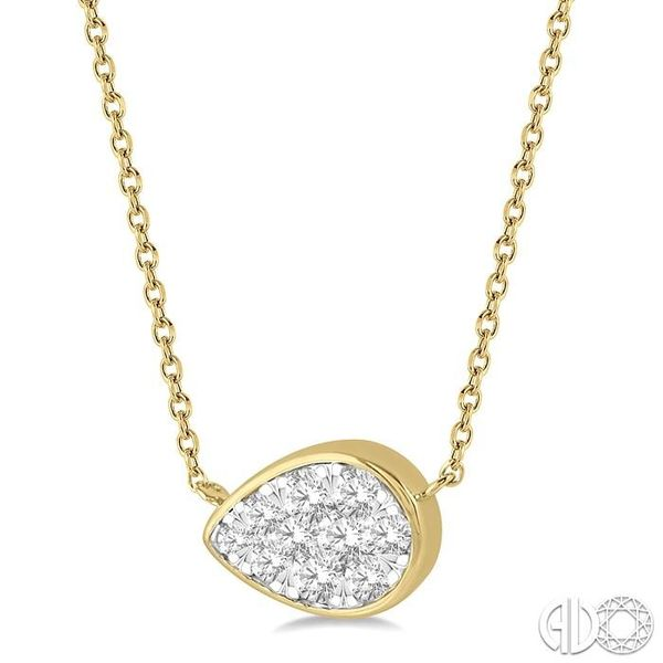 1/3 Ctw Pear Shape Pendant Lovebright Diamond Necklace in 14K Yellow and White Gold Image 2 Grogan Jewelers Florence, AL