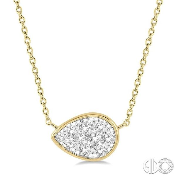 1/3 Ctw Pear Shape Pendant Lovebright Diamond Necklace in 14K Yellow and White Gold Grogan Jewelers Florence, AL