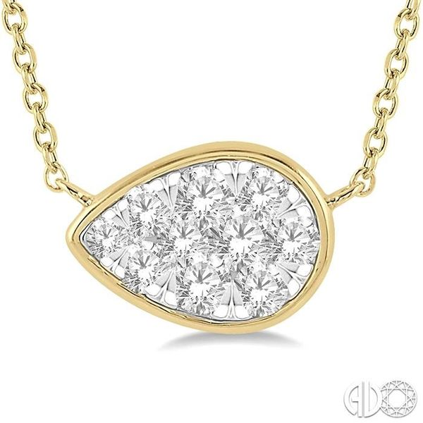 1/3 Ctw Pear Shape Pendant Lovebright Diamond Necklace in 14K Yellow and White Gold Image 3 Grogan Jewelers Florence, AL